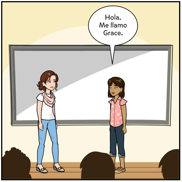 new student Spanish lesson exemplar comic panel 2