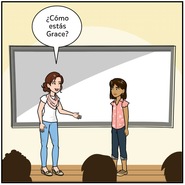 new student Spanish lesson exemplar comic panel 3