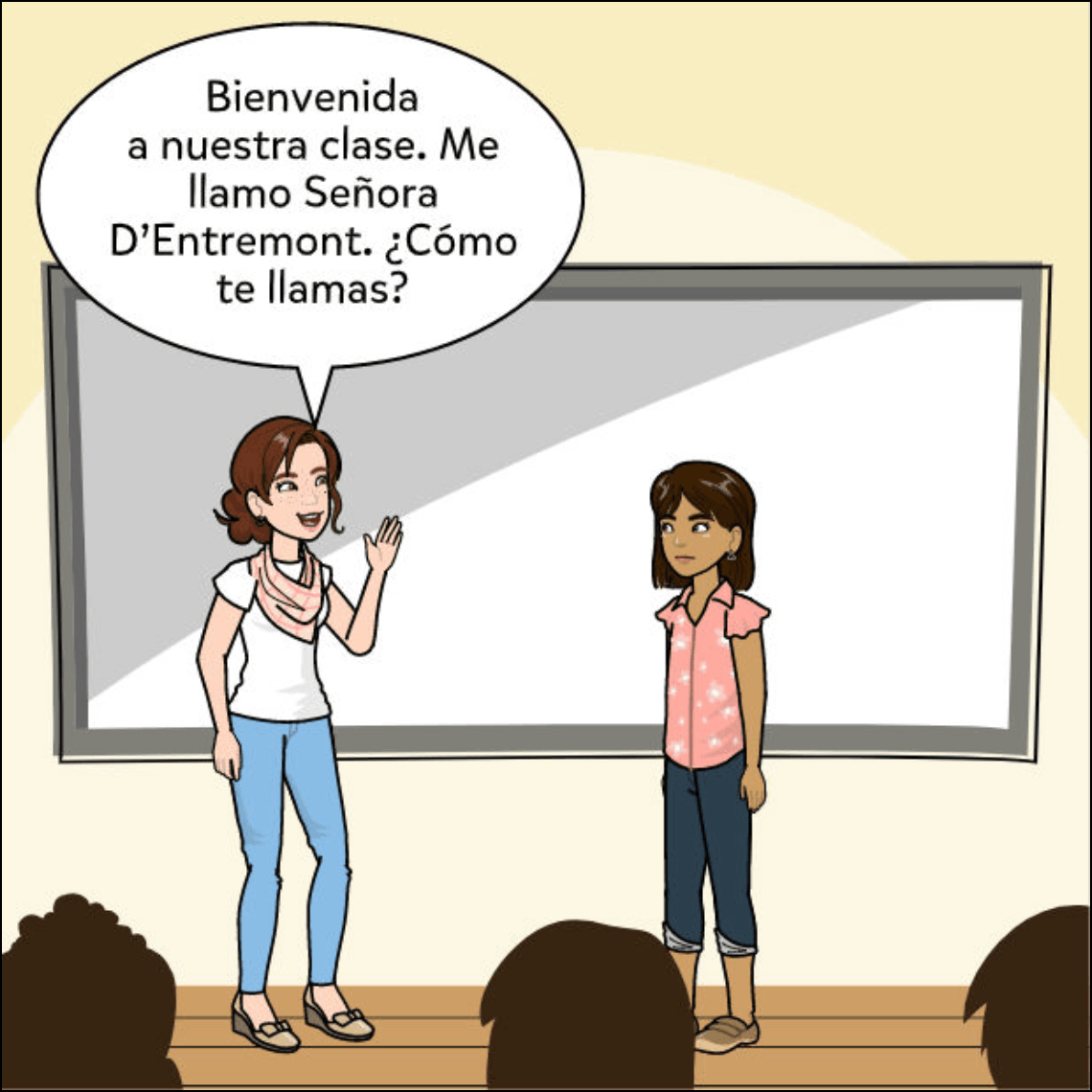new student Spanish lesson exemplar comic panel 1