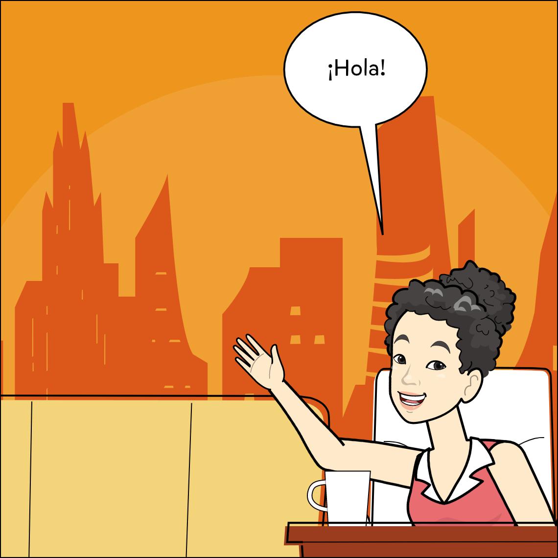world languages Spanish lesson exemplar comic panel 1