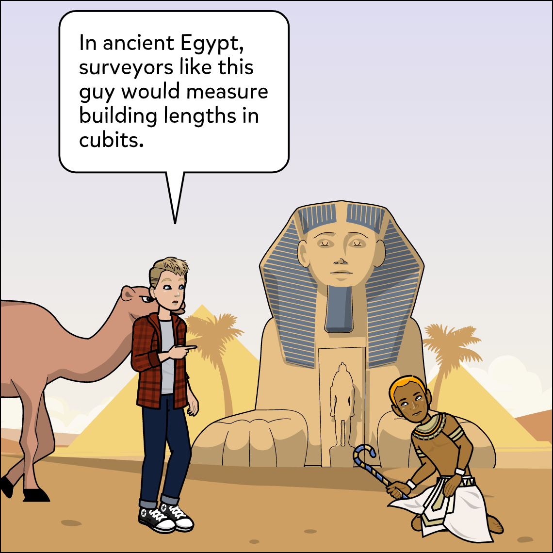 Egyptian math mashup lesson exemplar comic, panel 1
