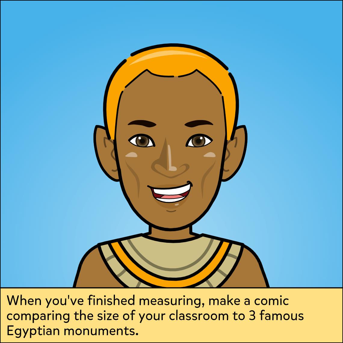 Egyptian math mashup lesson exemplar comic, panel 3