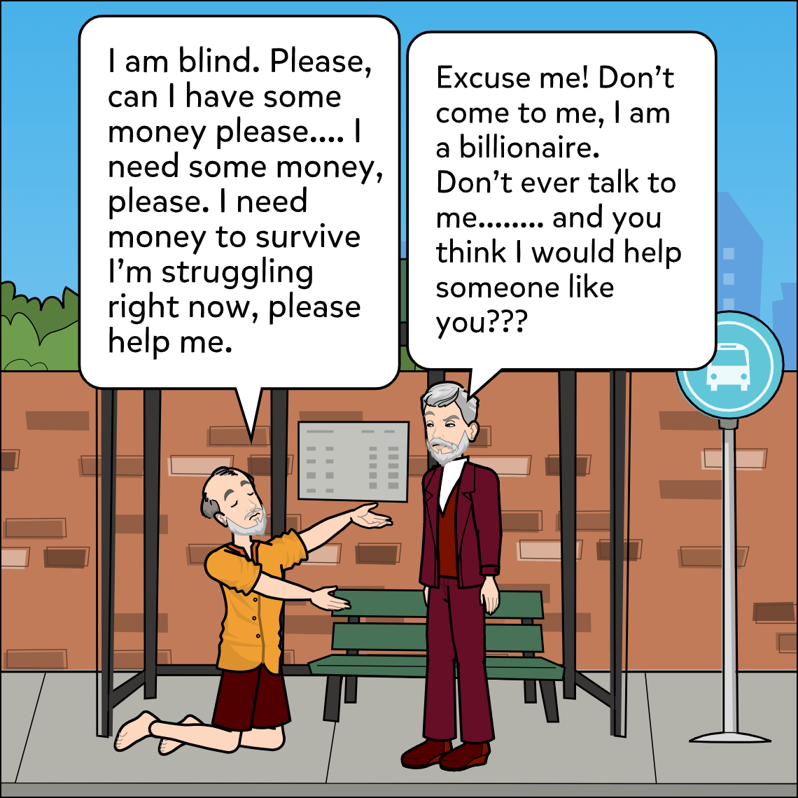 inspire donations to charity lesson exemplar comic panel 1