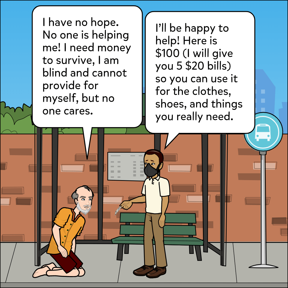 inspire donations to charity lesson exemplar comic panel 3