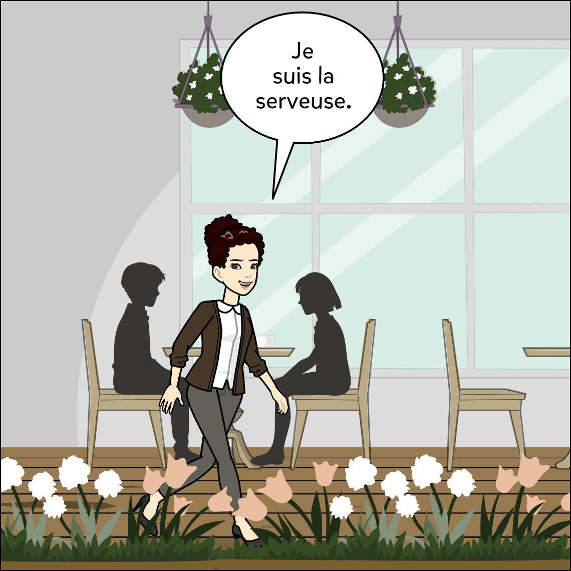 world languages restaurant dialogue lesson exemplar comic panel 1