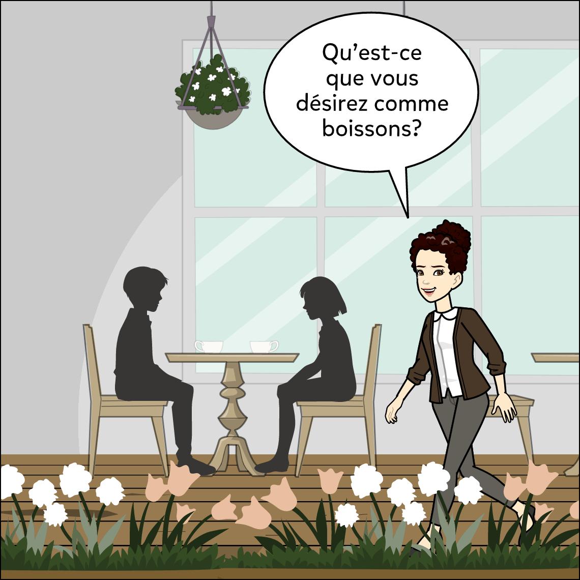 world languages restaurant dialogue lesson exemplar comic panel 3