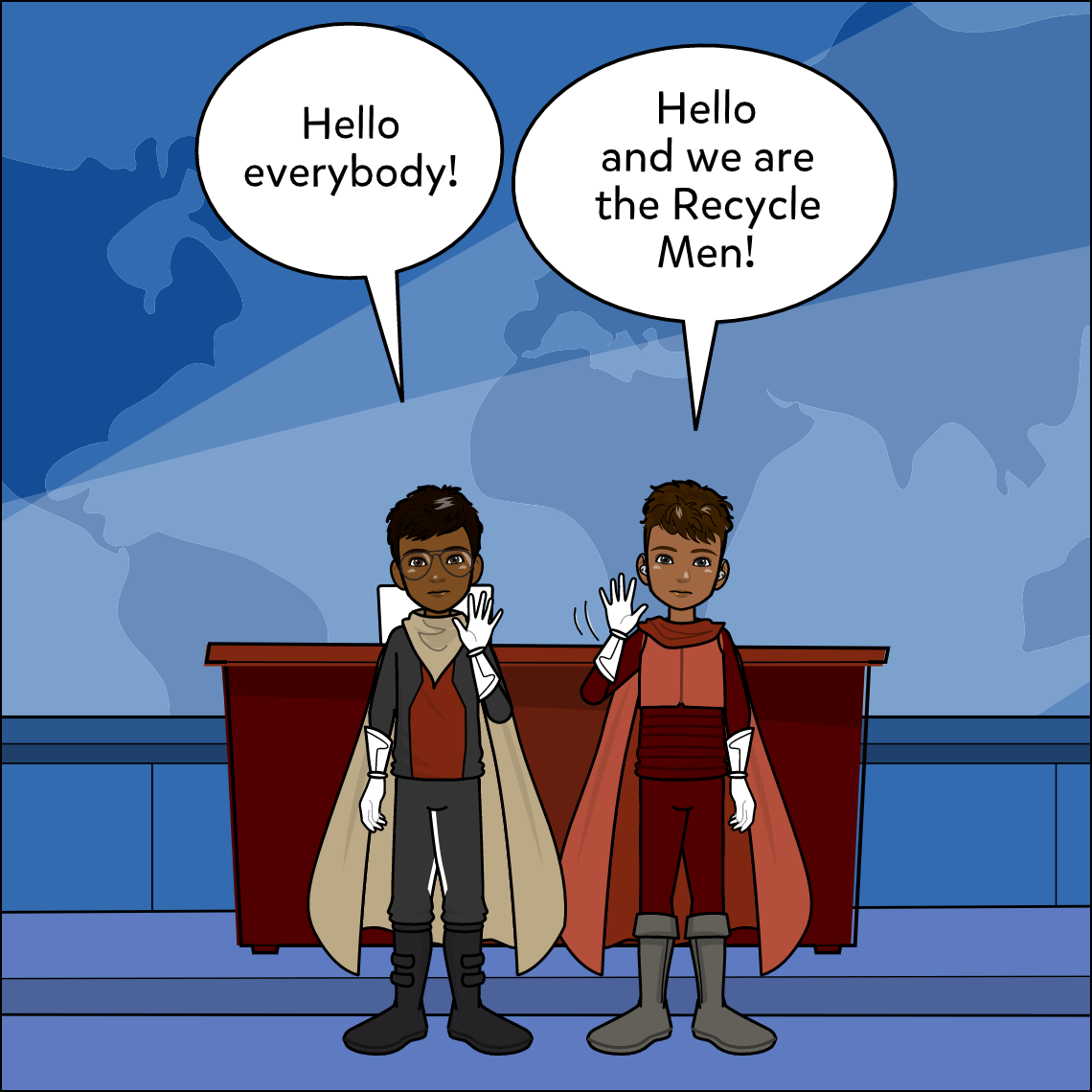 recycling superheroes lesson exemplar comic panel 1